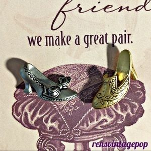Best Friends Steampunk Shoe Pin Pair Vntg but NWT!